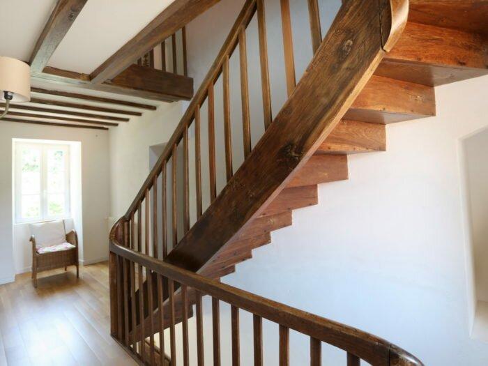 escalier, manoir, demeure, gite, bois, authentique